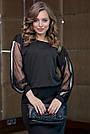 Чёрное трикотажное платье миди с прозрачными рукавами, фото 3