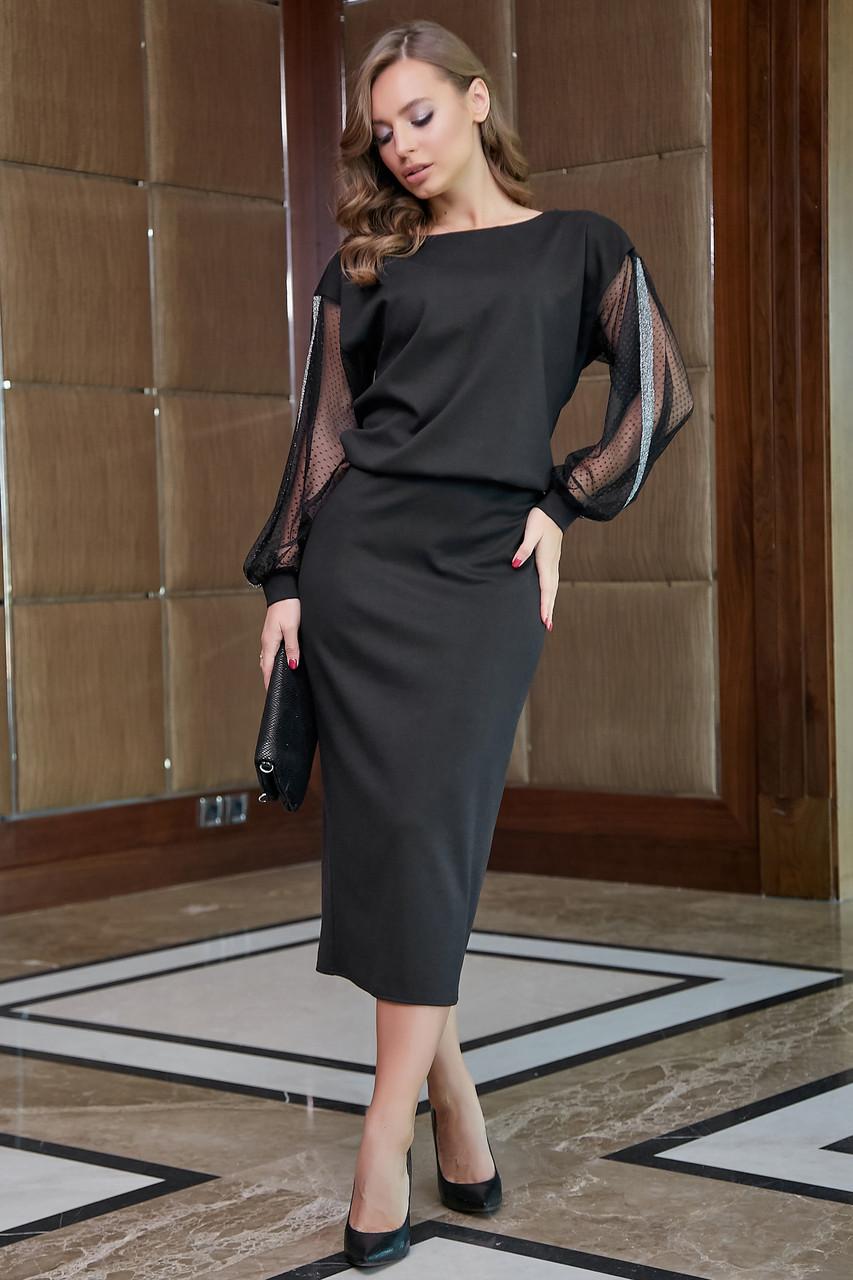 Чёрное трикотажное платье миди с прозрачными рукавами