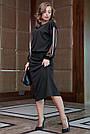 Чёрное трикотажное платье миди с прозрачными рукавами, фото 4