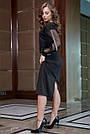 Чёрное трикотажное платье миди с прозрачными рукавами, фото 5