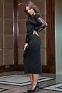 Чёрное трикотажное платье миди с прозрачными рукавами, фото 6