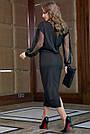 Чёрное трикотажное платье миди с прозрачными рукавами, фото 7
