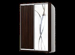 Шкаф-Купе Двухдверный Классик-4 ДСП Зебрано темный , зеркало с пескоструем 8R (Luxe-Studio TM)