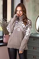 Теплый свитер со снежинками «Снежка» (капучино, белый), фото 1
