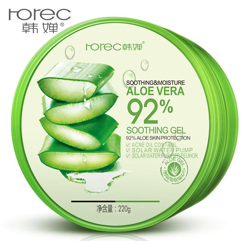 Гель для лица Rorec Aloe Vera Soothing Gel 92%  с алоэ вера успокаивающий и увлажняющий (220г)