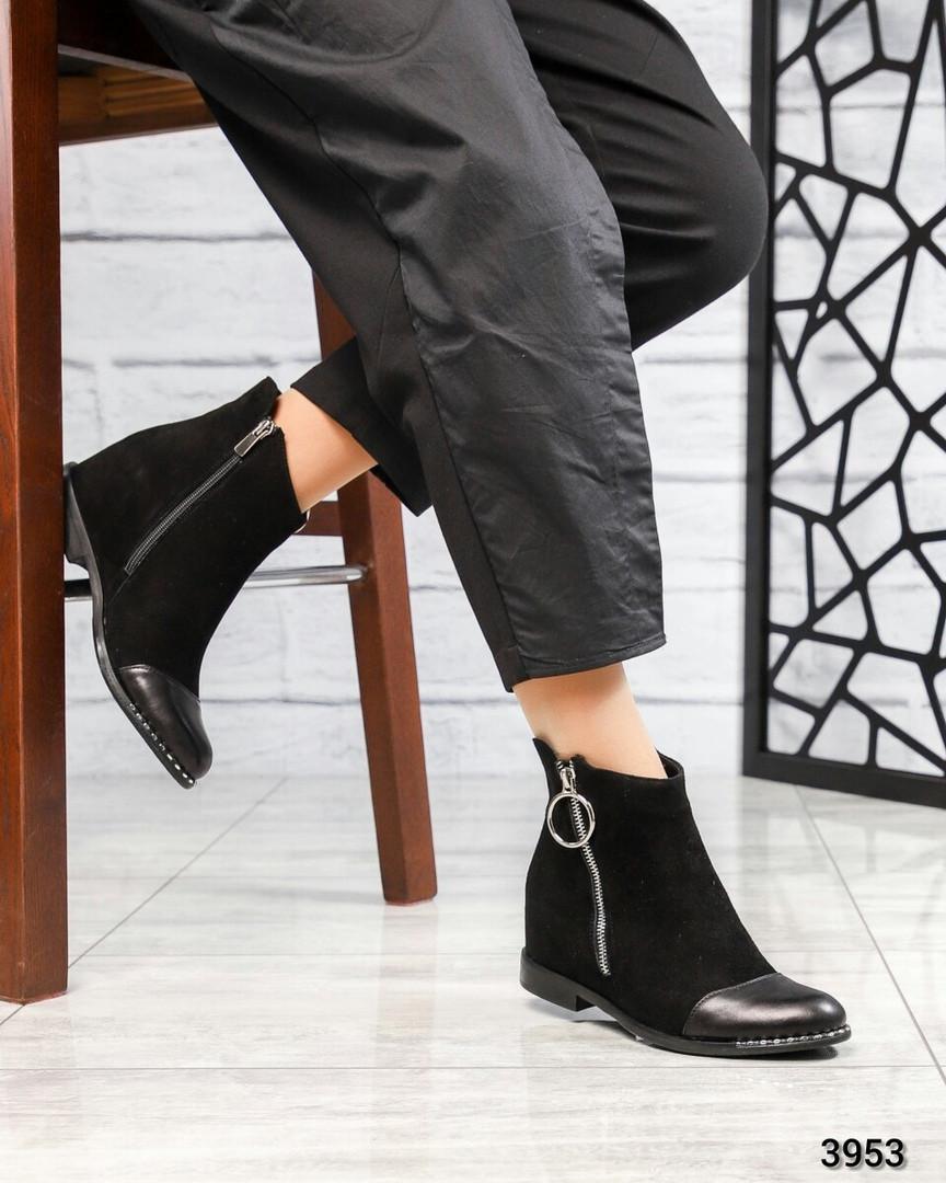 Ботинки женские со змейкй черные