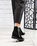 Ботинки женские со змейкй черные, фото 4