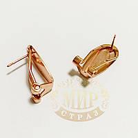 Металлическая швенза-клипса для сережек Rose Gold, c плоской основой 9*20мм, 1пара