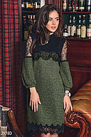 Зеленое платье из букле с кружевом S M L XL 2XL 3XL 4XL