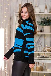 Теплый вязаный свитер Тирамису (черный, бирюза)