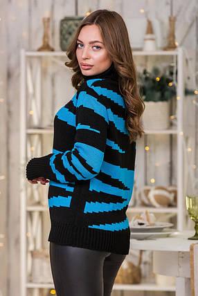 Теплый вязаный свитер Тирамису (черный, бирюза), фото 2