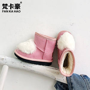 Угги детские зимние на меху на девочку розовые  из эко замша 26-35 р., фото 2