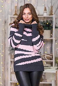 Теплый вязаный свитер Тирамису (графит, розовый)