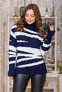 Теплый вязаный свитер Тирамису (синий, белый)