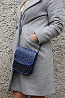 Маленькая кожаная сумочка ручной работы, черно-синяя женская сумка через плечо, тисненая кожа, фото 1