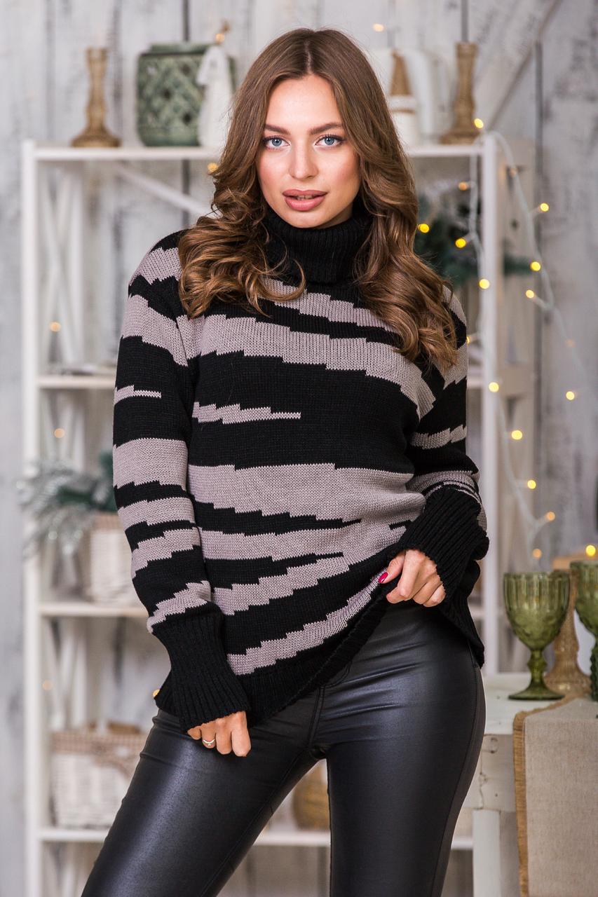 Теплый вязаный свитер Тирамису (черный, капучино)