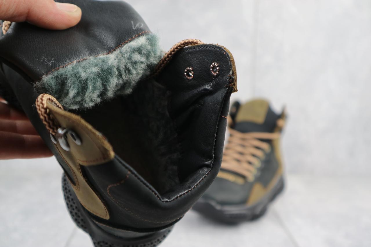 Подростковые кроссовки кожаные зимние черные-оливковые CrosSAV z 318
