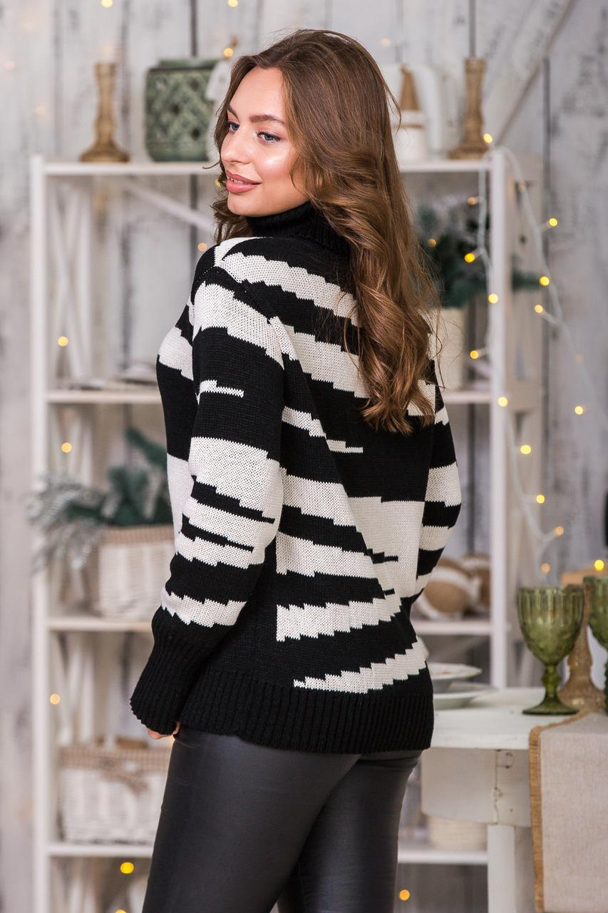 Теплый вязаный свитер Тирамису (черный, лён)