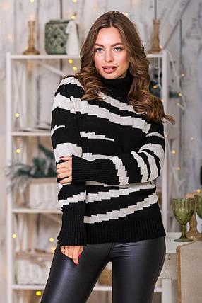 Теплый вязаный свитер Тирамису (черный, лён), фото 2
