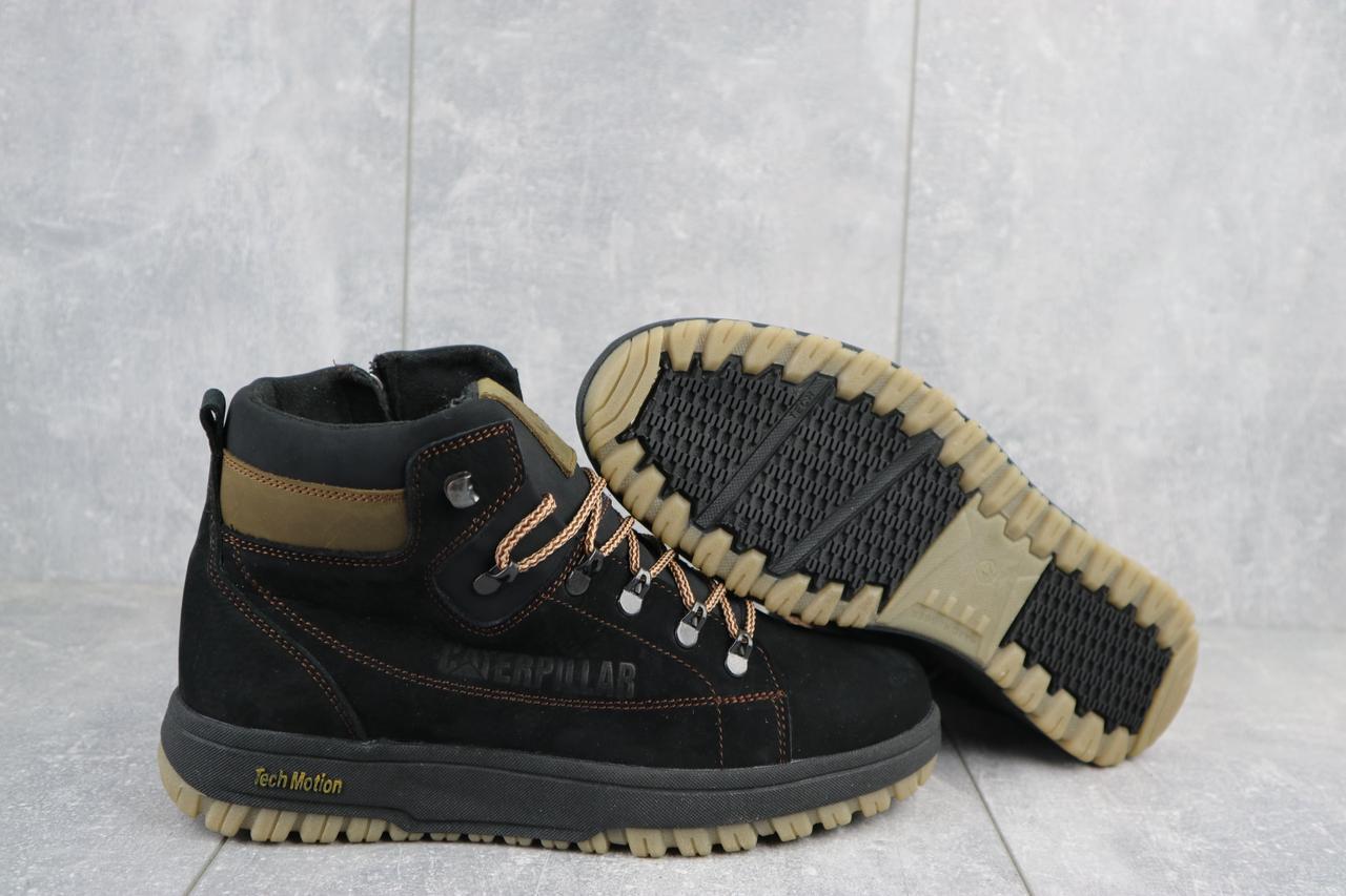 Мужские ботинки кожаные зимние черные-оливковые CrosSAV 322