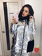 Женское красивое пальто на змейке с карманами супер батал