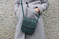 Маленькая кожаная сумочка, зелёная женская сумка через плечо, тисненая кожа, ручная работа, фото 1