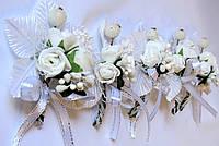 Свадебный цветочек для жениха, для гостей белый