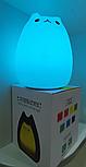 Силиконовый сенсорный LED светильник-ночник Котик, фото 2