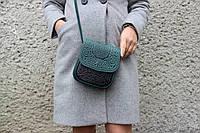 Маленькая кожаная сумочка 'Вязь', зелено-чёрная женская сумка, тисненая кожа, ручная работа, фото 1