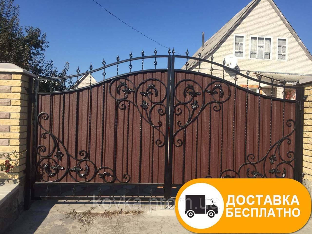 Ворота с коваными элементами и профнастилом, код: Р-0176