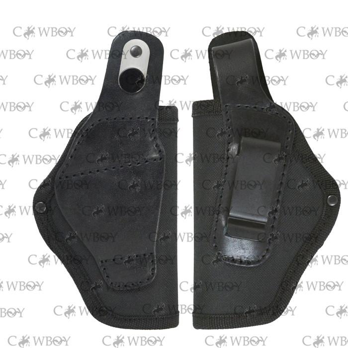 Кобура поясная Форт-12 с клипсой ЛЕВША (Cordura 1000D+кожа, черная)