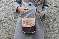 Маленькая кожаная сумочка, бежево-фиолетовая женская сумка через плечо, тисненая кожа, ручная работа, фото 1