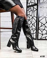 Сапоги женские кожаные черные
