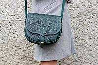 Кожаная женская сумка, зеленая сумочка, сумка через плечо, фото 1