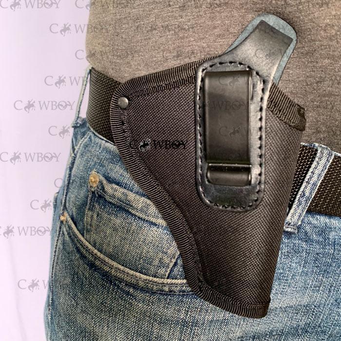 """Кобура поясная для револьвера 3"""" с клипсой (Cordura 1000D+кожа, черная)"""