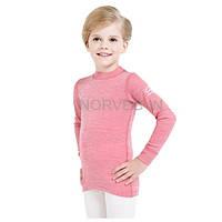 Термореглан из шерсти термобелье Norveg Soft для девочек красное мулине