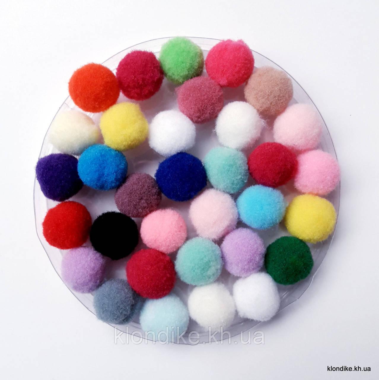 """Помпоны """"Велюр"""", 1 см, Цвет: Микс (75 шт.)"""