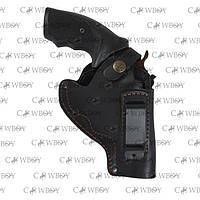Кобура поясная для револьвера 3 с клипсой (кожа, чёрная)