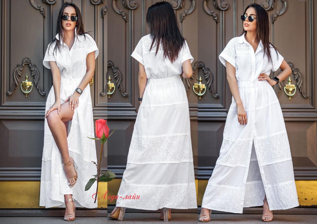 Шикарное летнее белое платье в пол из хлопка  YA-Анастасия
