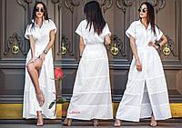 Шикарное летнее белое платье в пол из хлопка  YA-Анастасия, фото 1