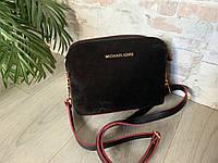 Черная с красным ободком,замшевая женская сумочка ,три отделения