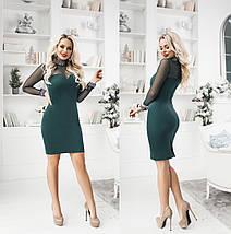 """Облегающее замшевое мини-платье """"Lilit"""" со стразами и длинным рукавом (4 цвета), фото 2"""