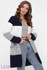 Жіночий в'язаний кардиган універсального розміру т. сірий/ сталь/ джинс/ т.-сірий, фото 2