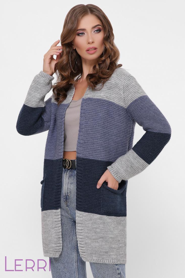 Жіночий в'язаний кардиган універсального розміру т. сірий/ сталь/ джинс/ т.-сірий