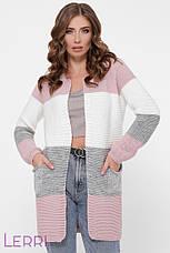 Жіночий в'язаний кардиган універсального розміру т. сірий/ сталь/ джинс/ т.-сірий, фото 3