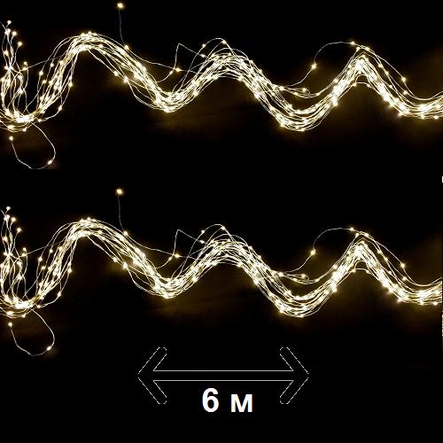 """Гирлянда новогодняя Luca Lighting """"Струна"""" 6 м, цвет теплый белый (для дома и улицы)"""