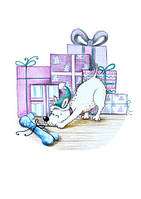 """Новогодняя Открытка """"Луи и подарки"""", фото 1"""