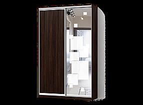 Шкаф-Купе Двухдверный Стандарт-1 ДСП Зебрано темный, зеркало с пескоструем 52 (Luxe-Studio TM)