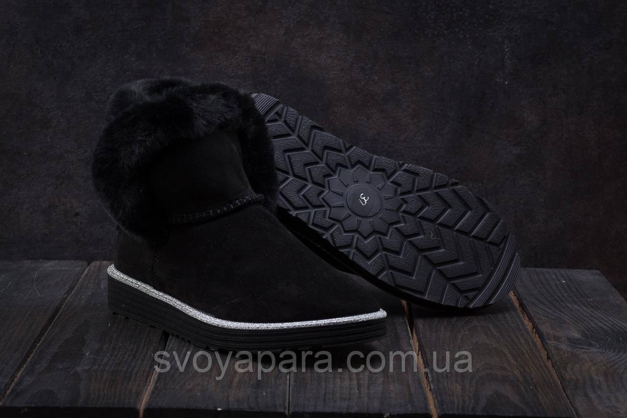 Женские ботинки замшевые зимние черные Best Vak УГ 44 -01