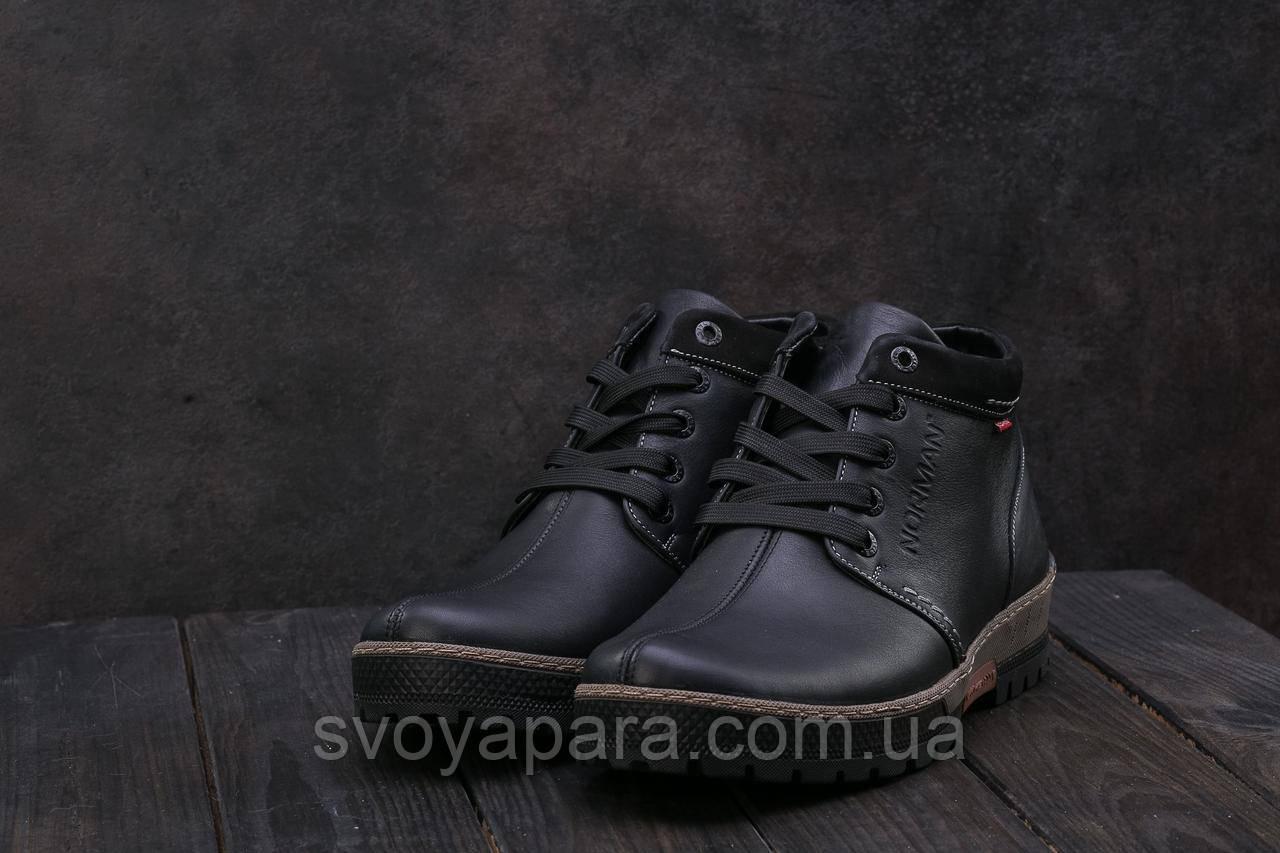 Ботинки Norman Z158 (зима, мужские, натуральная кожа, черный)